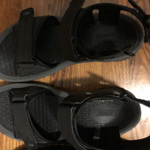 large sized black sandals